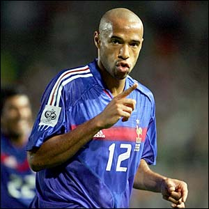 Thierry Henry scores for France against Ireland