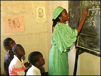 Schooling  in Zambia; a key aim of the Millennium Goals is to boost education in Africa.  BBC