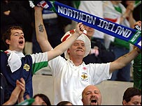 Northern Ireland fans celebrate their famous victory over England