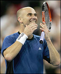Andre Agassi celebrates his win
