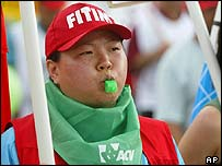 Korean metal worker Shin Suk-Ju marches during a protest during the World Social forum in Porto Alegre, Brazil