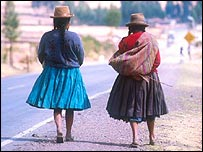 Women in the town of Pisac
