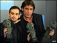 Director Alejandro Amenabar (left) and actor Javier Bardem