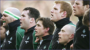 The Irish rugby team sing their national anthem
