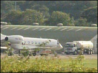 Footage of plane at RAF Northolt where Aswat was arrested