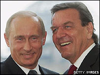 Russian President Vladimir Putin and former German Chancellor Gerhard Schroeder