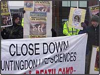Animal rights activists outside Huntingdon Life Sciences plant at Occold, Suffolk, calling for the company, which tests drugs on animals, to be shut down