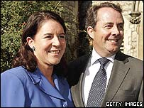Dr Liam Fox and his fiancee Jesme Baird outside the Hillside Clubhouse in north London,.