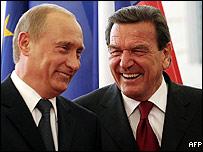 Vladimir Putin and Gerhard Schroeder