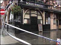Police cordon outside pub