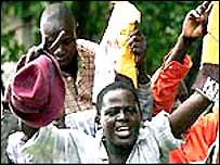 Jubilant Kenyans after Narc's victory in 2002