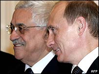 Mahmoud Abbas, (left) and Vladimir Putin