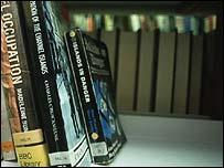 Empty library shelves