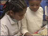 Children reading library books