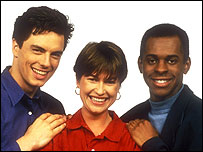 John Barrowman (l) with Emma Forbes and Andi Peters