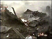 Plane wreckage shown in the video screened by Al-Jazeera
