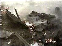 Plane wreckage shown in the video screened by Al-Jazeera