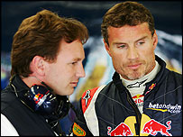 Red Bull's Christian Horner (l) and David Coulthard (r)