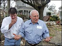 Vice President Dick Cheney (right) in Gulfport, Mississippi, with Gulfport Mayor Brent Warr