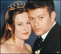 Australian airman Flt Lt Paul Pardoel, 35, of Victoria State, with wife Kellie