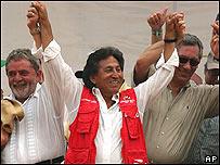 Presidente de Brasil, Inacio Lula da Silva, Presidente de Perú, Alejandro Toledo y Presidente de Bolivia, Eduardo Rodríguez.