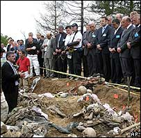 Dignitaries visit mass grave near Potocari, outside Srebrenica