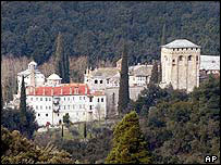 The Helandariou Orthodox Christian monastery on Mount Athos