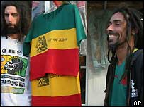 Italian Rastafarians who have come to Ethiopia to participate in a month of festivities