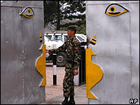 Soldiers close the gates of dismissed PM Sher Bahadur Deuba in Kathmandu