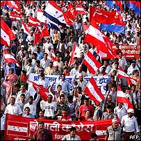 Political parties rally in Nepal against the king, April 2004