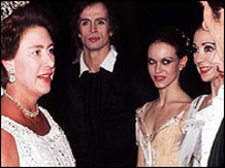 Princess Margaret at the ballet; Rudolf Nureyev (centre)