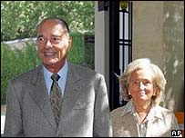 Jacques and Bernadette Chirac emerge from the hospital