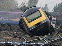 The wreckage of the Ufton Nervet rail crash