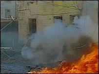 Scene after car bombing (pic: Georgian TV)
