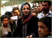 Woman campaigning in Afghanistan elections