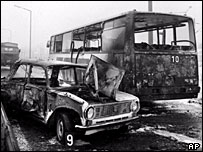 Scene of RAF bus bombing in Hungary, 1991