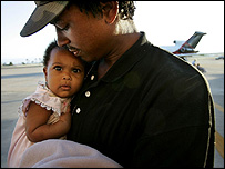 New Orleans evacuee father and daughter arrve in San Diego, California