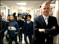 David Bell visiting a school