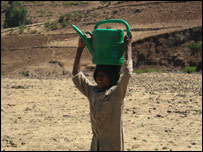 An Ethiopian boy carries a water container on his head