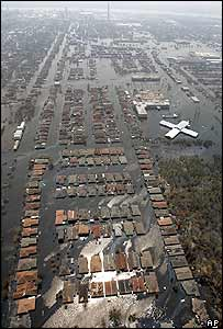 Aerial view of flooded areas of New Orleans