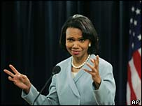 Secretary of State Condoleezza Rice at State Department news conference