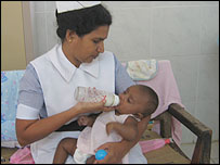Baby 81 and nurse in Sri Lanka