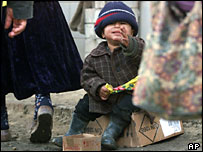 Begging Roma boy in Grozny, Chechnya