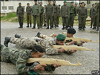 Palestinian forces training with wooden guns in Tulkarm