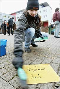 German man protesting against labour market reforms