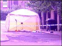 Police cordon near the crime scene
