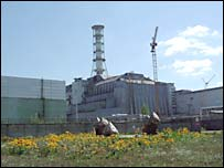 Chernobyl nuclear reactor block 4 in its sarcophagus