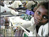 Malnourished children wait for treatment at Kalemies main hospital in DR Congo
