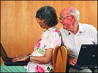 Retired woman and man