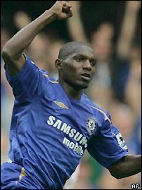 Geremi celebrates scoring for Chelsea